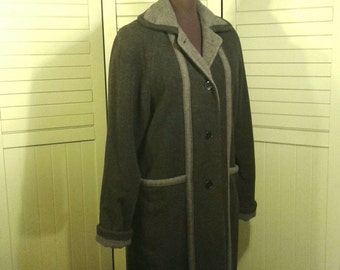 Full Length Hermen Geist Wool Maxi Coat Grey Dark Light Two Tone Trench Overcoat Made In Russia Russian Women's Size 6 Small