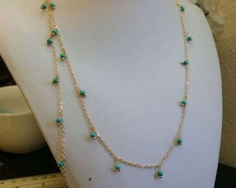 Gold Chain and Turquoise Bead Womens Lanyard Necklace - Simple and Elegant