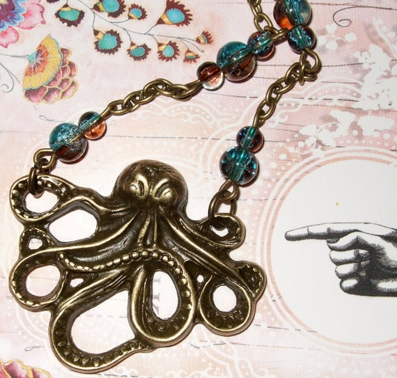 Octopus Pendant, Chocolate and Teal, Beaded Octopus, Quirky Jewelry, Octopus Necklace, Glass Beads, Bronze Octopus Charm, Nautical Necklace