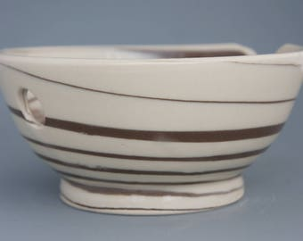 Brown and White Hand Thrown Ceramic Yarn Bowl