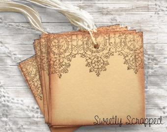 10 LACE Hang Tags -  Hand Stamped / Brown / Cream / Blank / Shabby Chic / Lacy / Aged / Vintage Inspired / Wedding / Shower / DIY / Planner