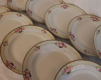 "Set of 10 Early Nippon Porcelain 7.75"" Salad or Luncheon Plates with Hand Painted Pink Roses"