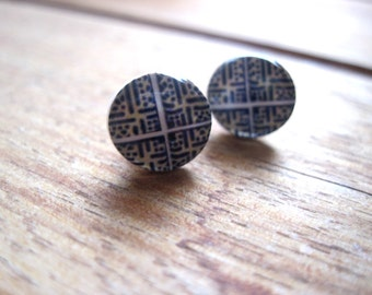Portuguese jewelry, Portuguese tile post earrings, North African jewelry, tribal earrings, mosaic, stud earrings, post earrings, blue