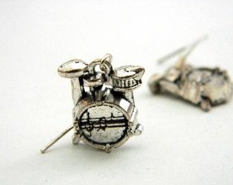 Drum Set Earrings Silver Color Dangle Earrings