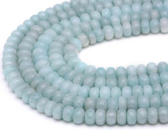 Peruvian Amazonite Smooth Rondelle Genuine Gemstone Loose Beads Size 4x6mm/5x8mm/6x10mm/7x12mm Approximate 15.5'' Long Per Strand
