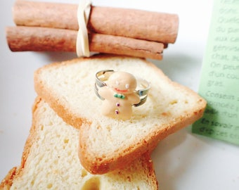 Gingy gingerbread man or Mr. snowman Fimo greedy ring