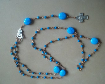 Turquoise and Copper Rosary Prayer Beads Necklace Five-Way Medal