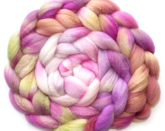 Roving Organic Polwarth and Bombyx Silk Handdyed Combed Top - Tea Roses, 5.0 oz.