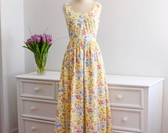 Vintage 1980's Laura Ashley Sundress Yellow Floral Tea Length Summer Spring