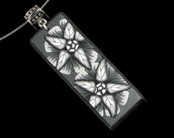 Black & White Flower Necklace, Polymer Clay Floral Pendant Necklace, Flower Art Jewelry, Unique Gift for Women, Womens Gift, Girlfriend Gift