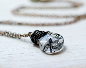 Rutilated Quartz Gemstone Necklace Oxidized Sterling Silver Black White Tourmalinated Stone Pendant Blackened Silver Chain Wire Wrap Jewelry