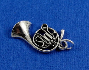 French Horn Charm - Silver Plated French Horn Charm for Necklace or Bracelet