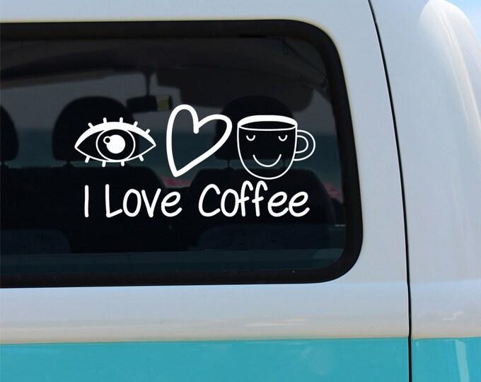 I Love Coffee - Coffee Vinyl Window Decal -  Coffee Sticker - Car Decal - Coffee Decal - Car Decal - Car Sticker - Coffee - Vinyl Decal