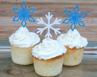 CLEARANCE. Mixed Snowflake Cupcake Toppers.