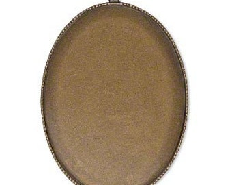 Cabochon Mount, Antiqued Brass, Cab Setting, Steampunk, 40x30mm oval, 1 each, D421