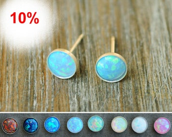 Opal stud earrings. Classic Opal Studs. Opal stud White. Opal silver stud. 6 mm Gold Filled. Valentine Day gift for her. Birthstone jewelry