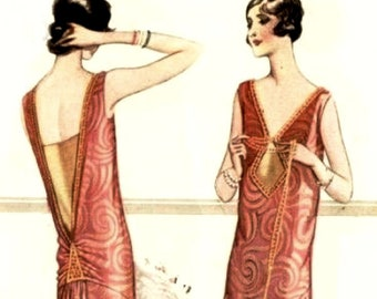 Classic and modern 1920s dress sewing pattern. V neck lines, gathered  low back. Downton abby Mary style