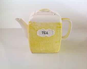 Vintage Yellow Teapot, Basketweve Design Napco Teapot, Collectible Teapot, Yellow and White Teapot