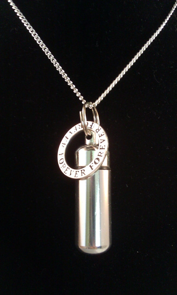 "Silver Cremation Urn & Vial on 18"" Silver Necklace ""FOREVER"" - Custom Hand Assembled.... with Velvet Pouch and Fill Kit"