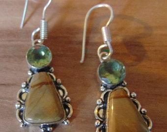 Peridot and Jasper Vintage Earrings set in Sterling Silver