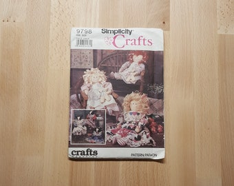 Simplicity Crafts 9798 Stuffed Doll and Cow-Doll with Clothes presented by Donellensvintage