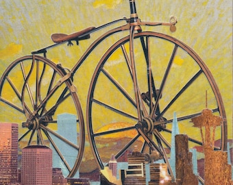 Bronze Bicycle- An old school bicycle rolling through Seattle
