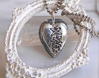 Sterling Healed Heart Pendant, RESERVED for AE