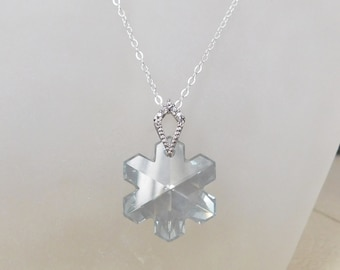 Snowflake Crystal Necklace , Swarovski Snowflake Pendant , Christmas Gift , Holiday Necklace
