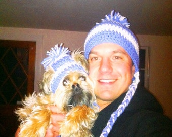 Dog Hats with matching Owners Hat.  Crochet by Hand made by Kams-store.com