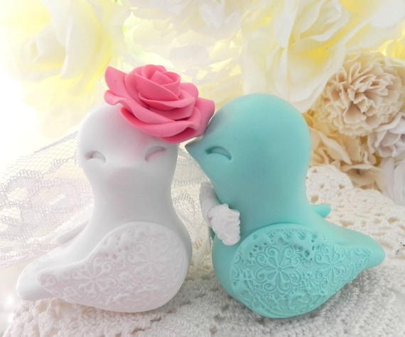 Love Bird Wedding Cake Topper, Coral, Mint Green and White, Bride and Groom Keepsake, Fully Custom