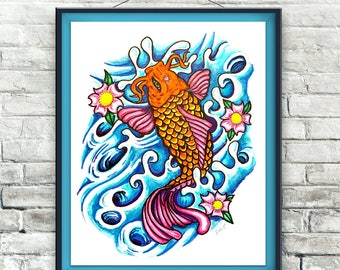 Koi 8x10 Illustration Digital Download