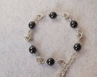 Silver Rosette and Glass Pearl Bracelet