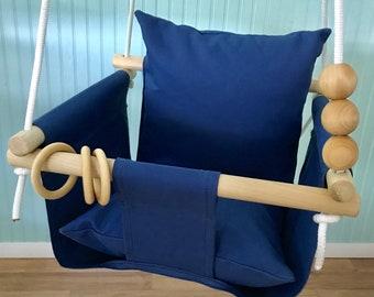 Baby Swing, Navy swing, Toddler swing, Indoor swing, Outdoor swing, Porch swing, Baby shower gift, Nursery swing, 1st Birthday gift