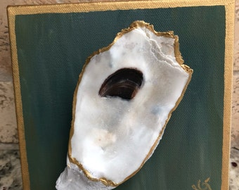 Gold Leafed Oyster on 4x4 Canvas