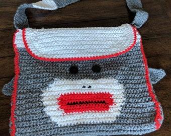 Crochet sock monkey bag/handmade tote/children's bag/handmade gift