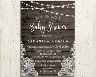Rustic Wood Baby Shower Invitation, String Lights and Lace, DIGITAL FILE