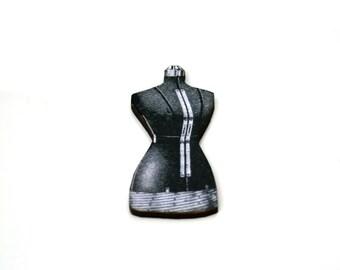 Black Bust Brooch, Seamstress, Wood Jewelry