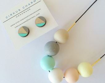 Handmade Polymer Clay Beads Necklace + Hand Painted Wooden Earrings