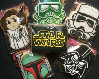 Star Wars | Decorated Sugar Cookie Gift Set | Coworker Christmas Ornaments Gifts | Princess Leia Darth Vader Boba Fett Stormtrooper