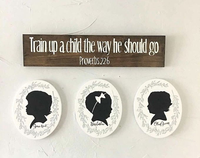 Hand Painted Canvas Silhouette, Custom Silhouette Portrait, Child's Silhouette Portrait, Mother's Day Gift Idea, Gallery Wall, Keepsake