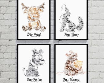 Harry Potter Hogwarts Marauders Bundle - Baby Prongs, Baby Padfoot, Baby Moony, Baby Worm Tail. Printable Nursery Decor, Baby Shower Gift