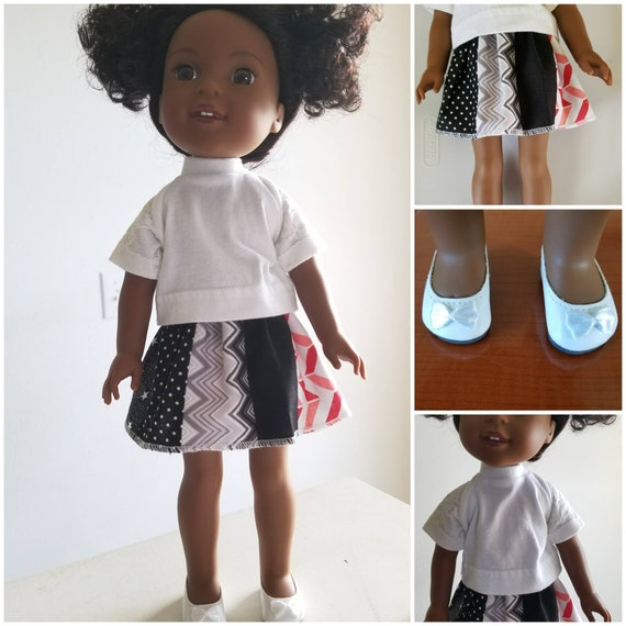 Cotton patchwork Skirt, Cotton Top with Lace Sleeves and shoes for 14.5 Inch Doll wellie Wisher