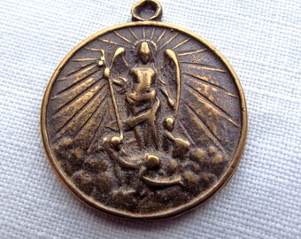 St michael the archangel blessed mother pendant two way bronze st michael the archangel medal vp618 aloadofball Gallery