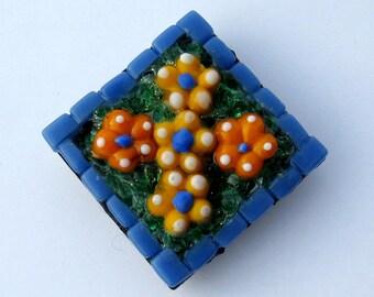 Spring Flowers Magnet-mosaic magnet-mosaic art-Easter Gift-home decor-refrigerator magnet-kitchen magnet-decorative magnet-tile magnet