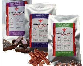 Cabanossi, Biltong (Beef Jerky) & Dry Wors (3 x 100g packets)