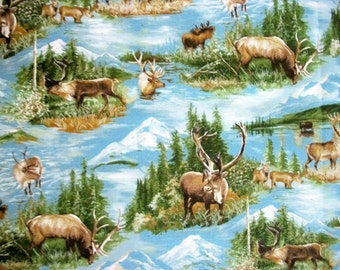 Moda Fabrics, Quilting Fabric, By The Yard Fabric, Caribou Design, Wild Blue Yonder Collection , Sewing Fabric, Nature Fabric