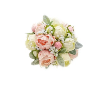 Stemple's Gatherings - A grouping of Real Touch Artificial Peonies, Baby's Breath & Lamb's Leaf - Dropped in a vase or as a wedding bouquet