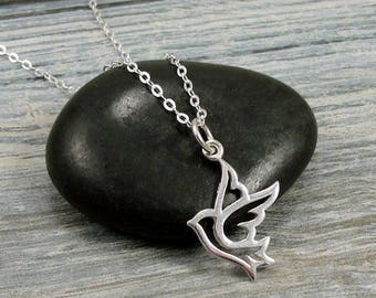 Peace Dove Necklace, Sterling Silver Peace Dove Charm on a Sterling Silver Cable Chain