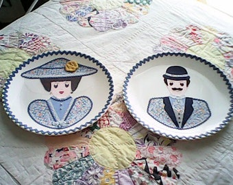 Two COLLAGE HIS & HERS Plates Whimsy 1960s Folk Art