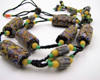 Long Strand African Mali Venetian Bead Necklace. Millefiore Glass Antique Trade Bead Tube Beads. 1920s Art Deco Sautoir Flapper Necklace